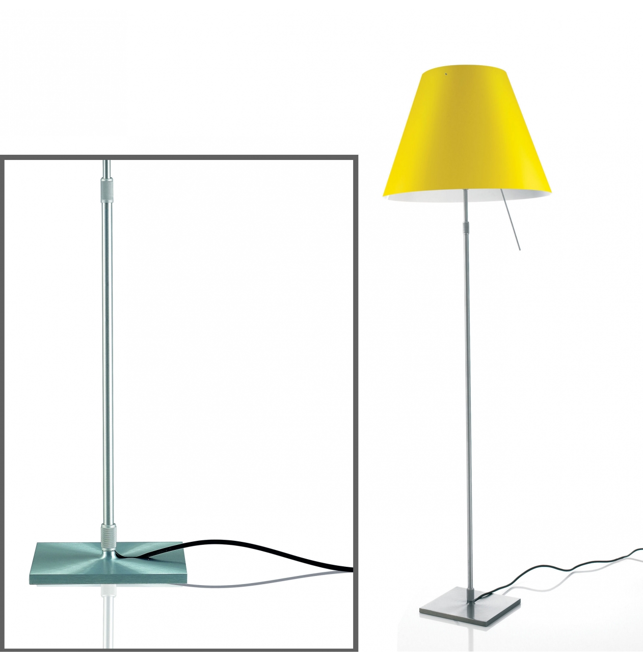 Luceplan vloerlamp costanza on off aluminium gekleurde kappen versteeg lichtstudio - Costanza vloerlamp ...